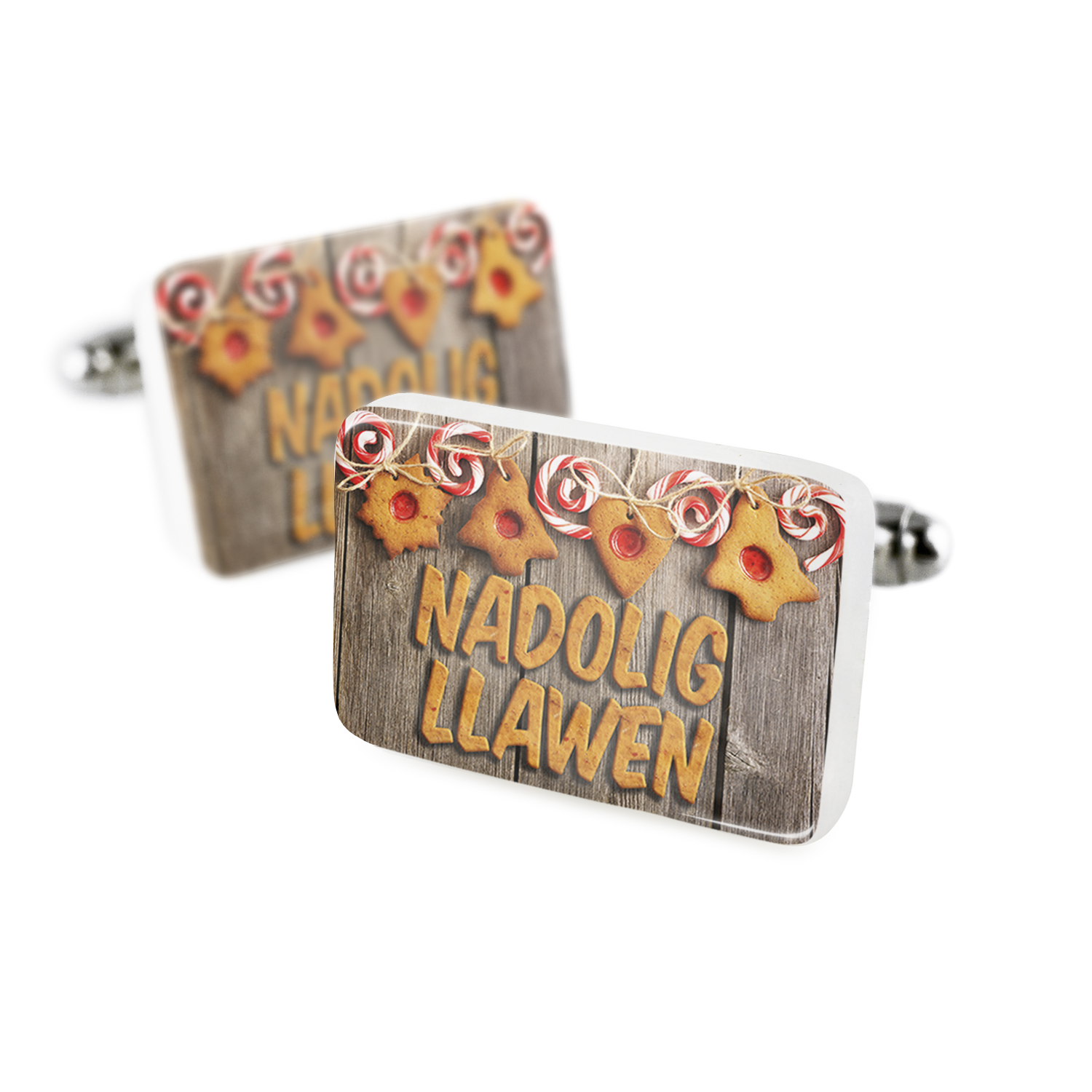 Cufflinks Merry Christmas in Welsh from Wales, United KingdomPorcelain Ceramic NEONBLOND