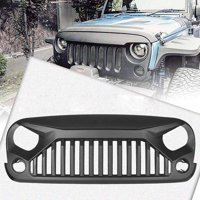 GZYF Front Eagle Eye Grill Grille W/ Mesh Insert for Jeep Wrangler Rubicon Freedom Sahara Sport JK 2007-2017, Matte Black