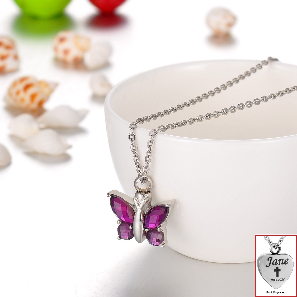 Personalized Purple Crystal Butterfly Cremation Jewelry Keepsake Urn Necklace