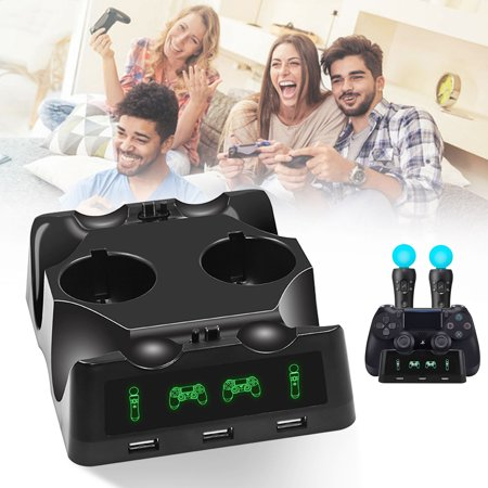 TSV 4 in 1 Controller Charging Dock Station Stand for Playstation PS4 PSVR VR Move, Quad Charger for Ps4 Move Controller and Vr