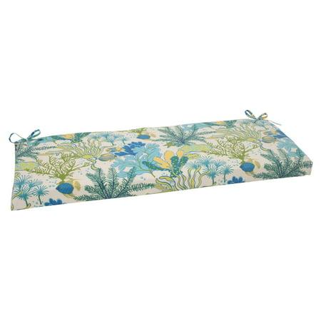 Pillow Perfect Splish Splash Blue 45 in. Bench Cushion