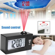 Portable Snooze Alarm LCD Clock Backlight Wall Projector Projection Clocks Sound Control Thermometer Home Kitchen Car Alarm Digital Clock,White & Black Colors (No Battery)