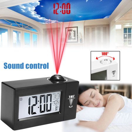 Portable Snooze Alarm LCD Clock Backlight Wall Projector Projection Clocks Sound Control Thermometer Home Kitchen Car Alarm Digital Clock,White & Black Colors (No