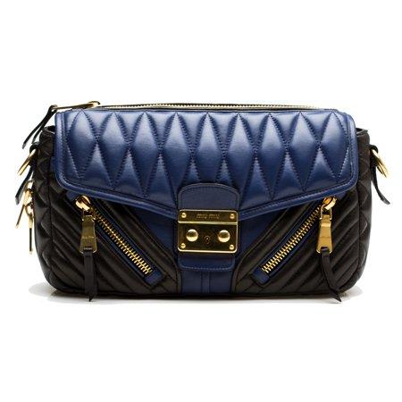 31982e0e50fa Miu Miu - MIU MIU Women s Biker Nappa Quilted Leather Crossbody Handbag  Purse Black Blue - Walmart.com