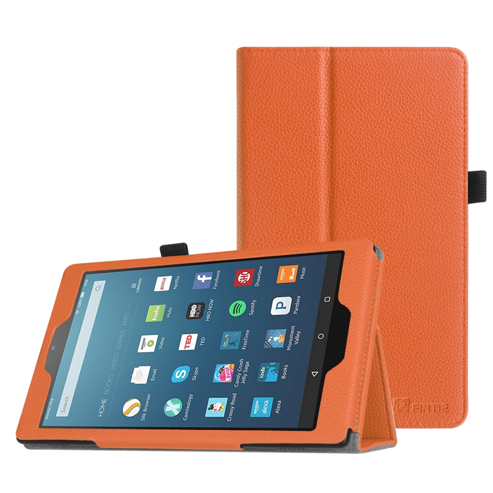 Fintie Case for Amazon Fire HD 8 Tablet - Slim Fit PU Leather Standing Folio Cover w/ Auto Wake/Sleep, Orange
