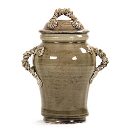Decorative Rope-like Handle Detail Ceramic Jar with Lid Large - Grey