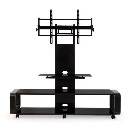 TransDeco Curved Wood TV Stand/Cart with Universal Mounting System for 35 to 85 inch TV, Black