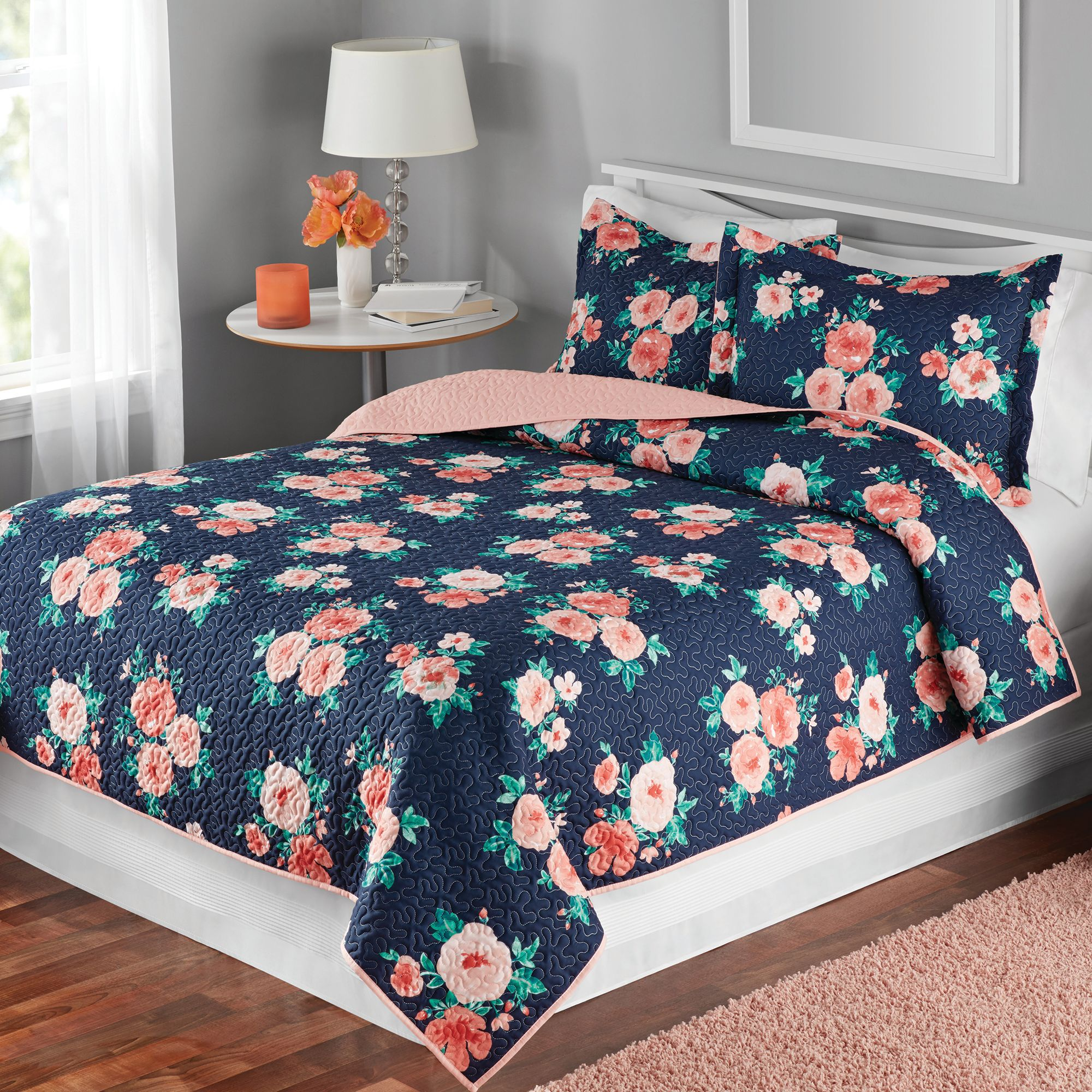 Mainstays Floral Quilt and Sham Bedding Collection