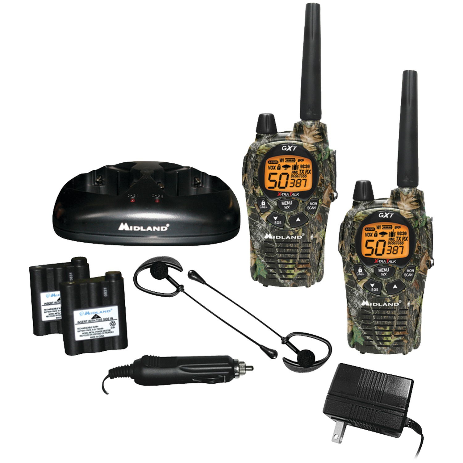 Midland GXT1050VP4 36-Mile Camo GMRS Radio 4 Pack With Batteries & Drop-in Charger by Midland