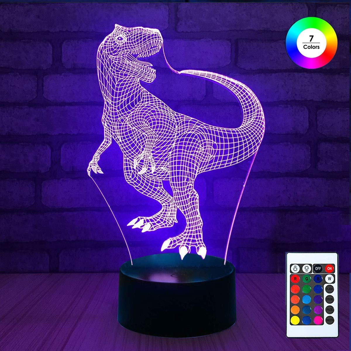 3D Remote Night Stand Light, EpicGadget Touch Control Optical Illusion  Visualization LED Night Light Lamp 7 Colors Changing Remote Control Night  Light