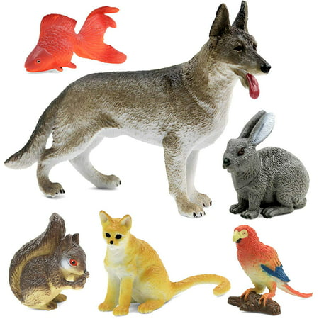 Click N' Play Realistically Designed Home Pet Animal 6 Piece Playset. (Click Six)
