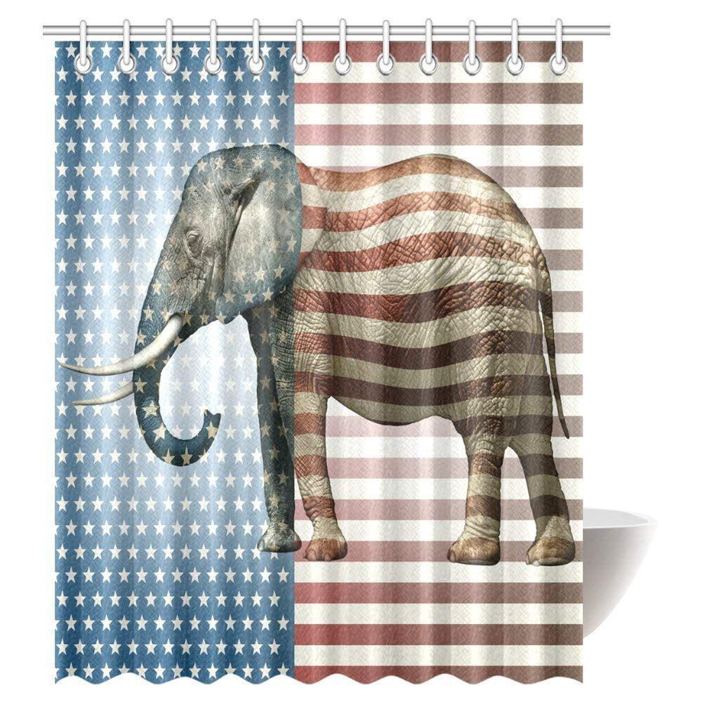 GCKG Elephant Decor Shower Curtain Vibrant With Stars And Stripe Fabric Bathroom Set Hooks 66x72 Inches