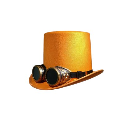 DLX Orange Steampunk Top Hat Colored Goggles Smoked Eyewear Industrial Aviator](Aviator Goggles And Hat)
