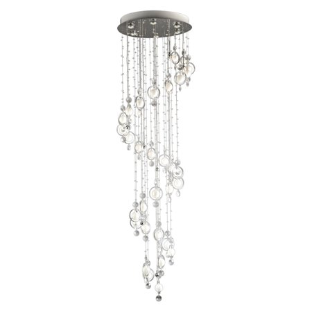 Bubbles Chandelier, LED/Halogen Chrome with Clear Crystal and White Frosted Glass Accent and Cut Crystal Droplets