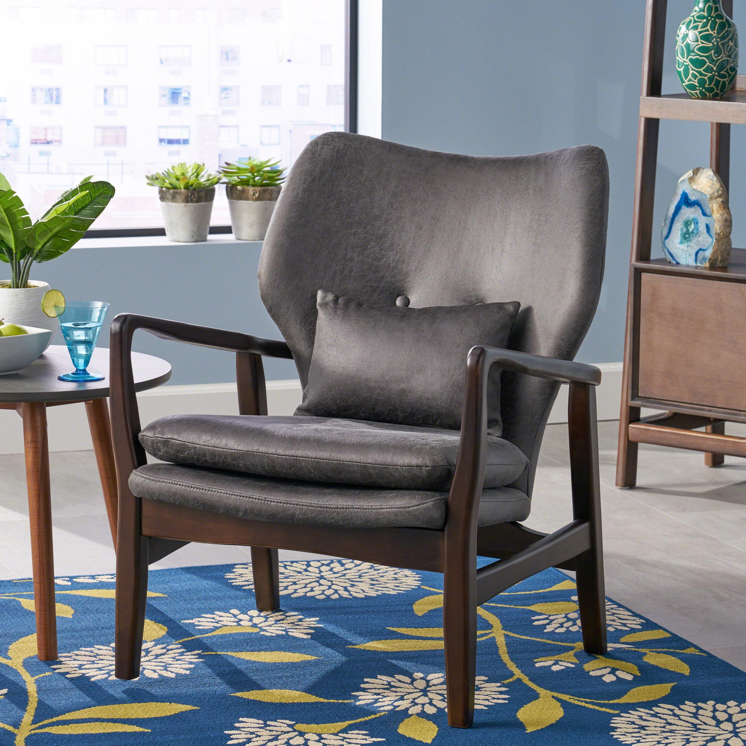 Noble House Mid Century Modern Microfiber Club Chair, Slate