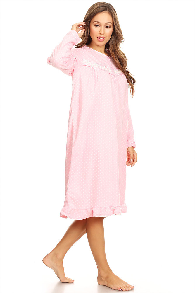 ea134fa60a Lati Fashion - 4027 Fleece Womens Nightgown Sleepwear Pajamas Woman Long  Sleeve Sleep Dress Nightshirt Pink M - Walmart.com