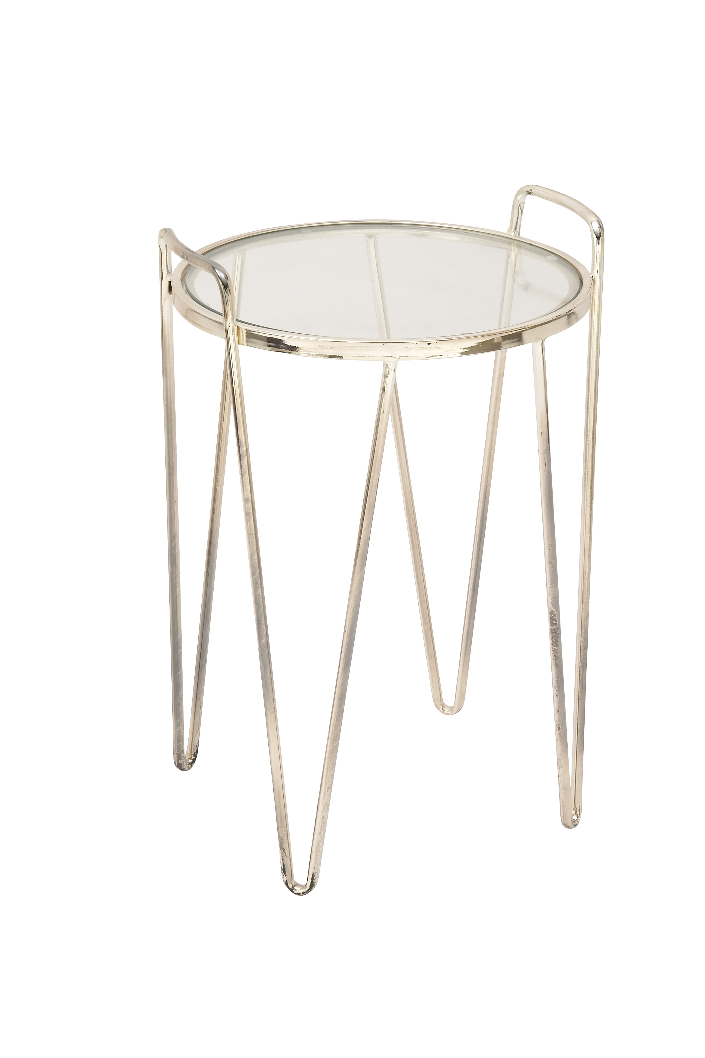 Decmode Modern Iron and Glass Accent Table, Silver by DecMode