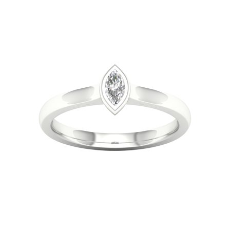 IGI Certified 1/6Ct TDW Marquise Diamond 10k White Gold Solitaire Promise Ring (H-I, (Marquise Solitaire Ring Mounting)