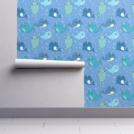 Removable Water-Activated Wallpaper Narwhal Sea Creature Kawaii Animal Nursery