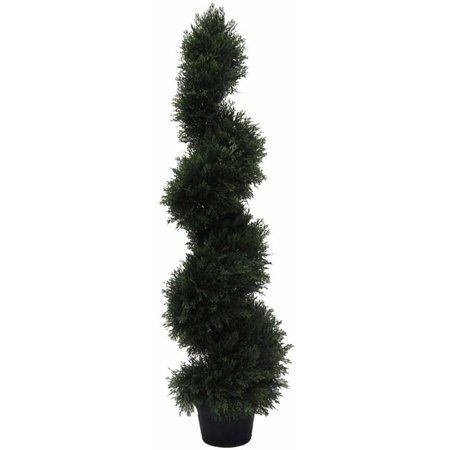 Vickerman 4' Artificial Potted Green Cedar Spiral Tree, UV-Resistant Green Spiral Thistle