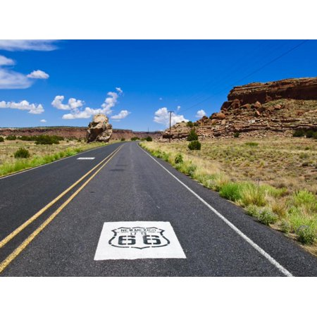 Road Sign Along Historic Route 66, New Mexico, United States of America, North America Print Wall Art By Michael