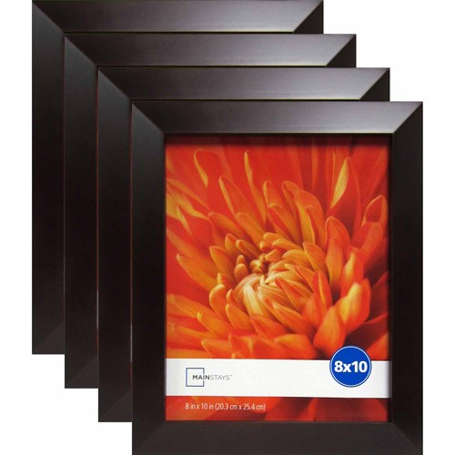 "Mainstays Wide Brown 8"" x 10"" Frame, Set of 4"