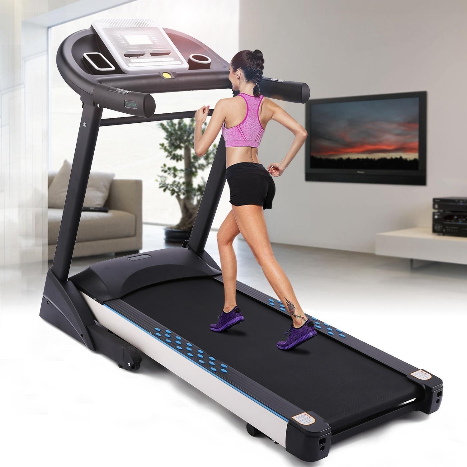 Clearance! Ancheer Folding Electric Treadmill Black 3.0HP Motorized Treadmill With Mobile Phone Holder and 5inch HD Screen Exercise Equipment Walking Running Machine For Gym Home