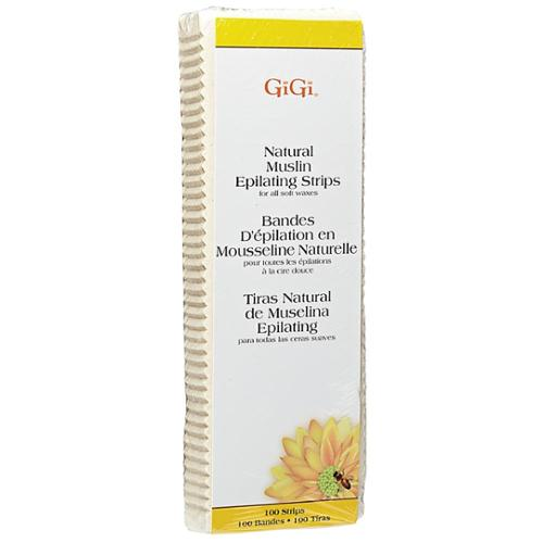GiGi Natural Muslin Epilating Strips Large for All Soft Waxes 100 ea (Pack of 3)