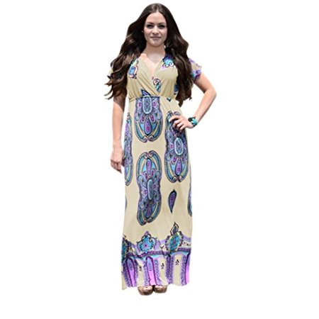 Peach Couture Paisley Printed V Neck Elastic Waist Short Sleeve Maxi Dress - image 1 of 1