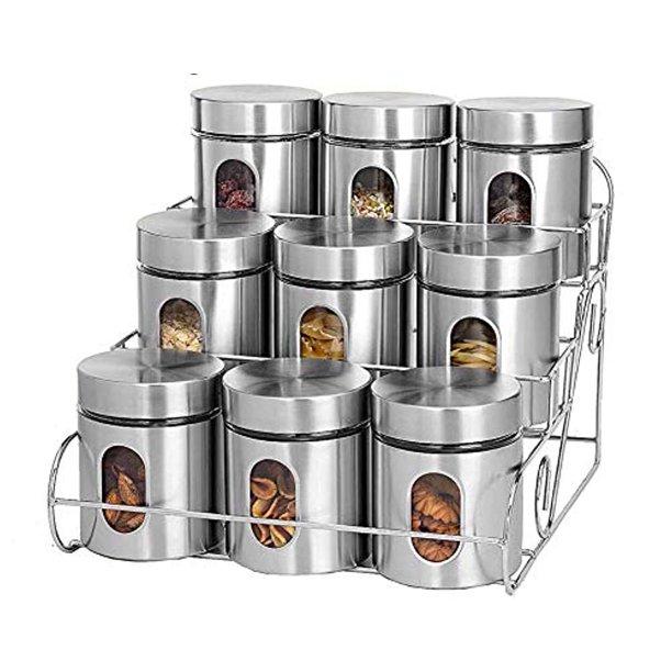 Jumbl 10 Piece Stainless Steel Kitchen Counter Storage Rack Canister Set Walmart Com Walmart Com