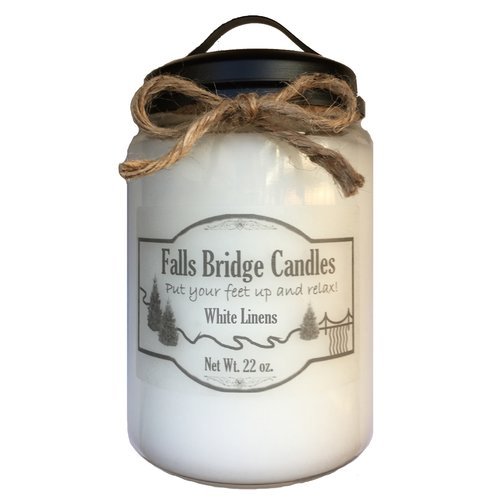 Falls Bridge Candles White Linens Scented Jar Candle