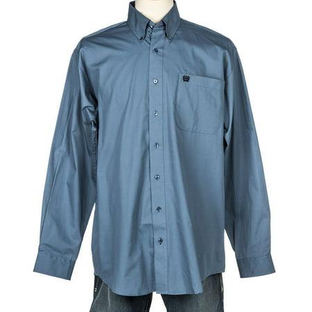 Cinch Apparel Mens  Blue Solid Long Sleeve Button Shirt