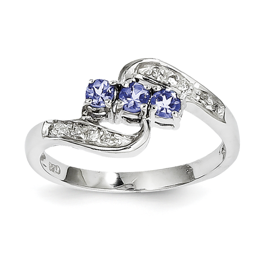 Sterling Silver Rhodium Tanzanite & Diam. Ring by CoutureJewelers