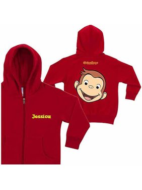 Personalized Curious George Funny Face Toddlers' Red Zip-Up Hoodie