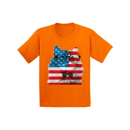 Awkward Styles Youth American Flag Cat Graphic Youth Kids T-shirt Tops USA Flag Cat Independence Day 4th of July