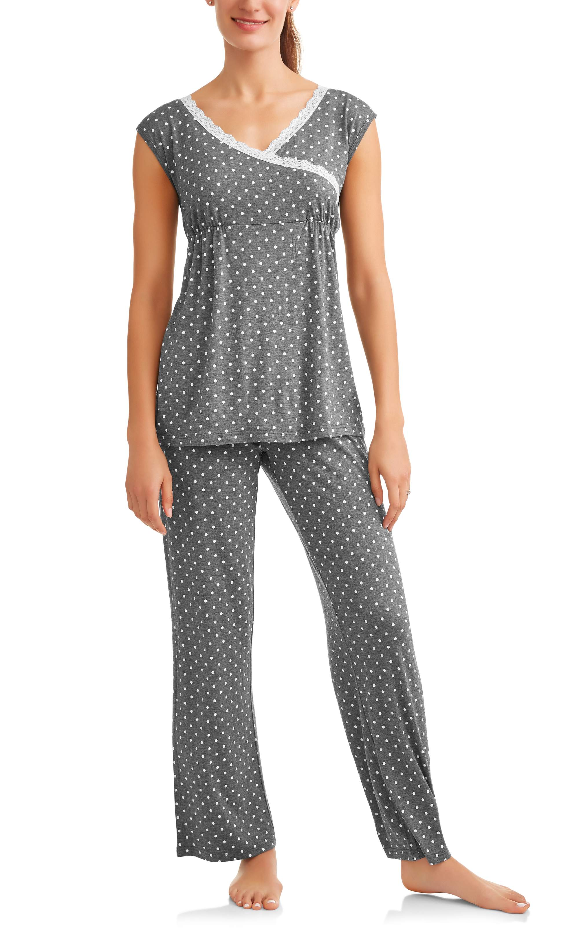 Maternity Nursing Sleeveless Top and Pants Sleep Set -- Available in Plus Sizes by Generic