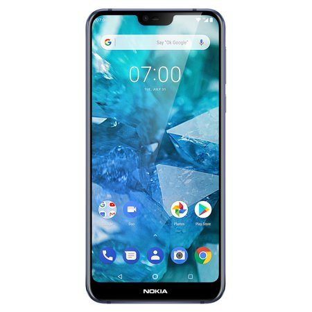 Blue Ultra Slim Cellular Phone - Nokia 7.1 - 64GB Unlocked GSM 4G LTE Android One Phone w/ Dual 12MP Camera - Blue