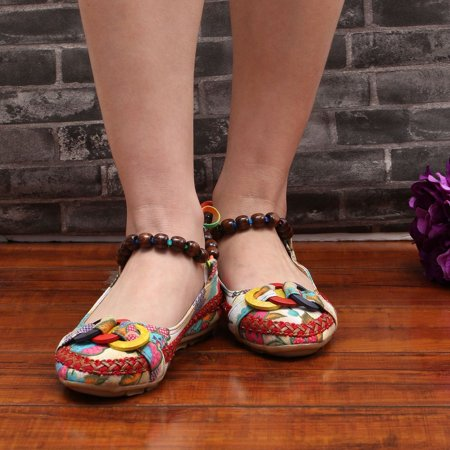 Beaded Lace Manual Beijing Shoes Asakuchi Breathable Shoes Women Single Shoes - image 3 de 10