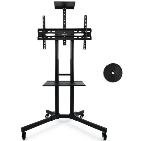32″-65″ Flat Screen Mobile TV Mount Stand TV Cart with Adjustable Shelves