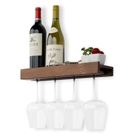 Rustic State Wall Mountable Solid Wood Wood Wine Bottle and Wine Glass Holder Stemware Rack Storage Walnut ()