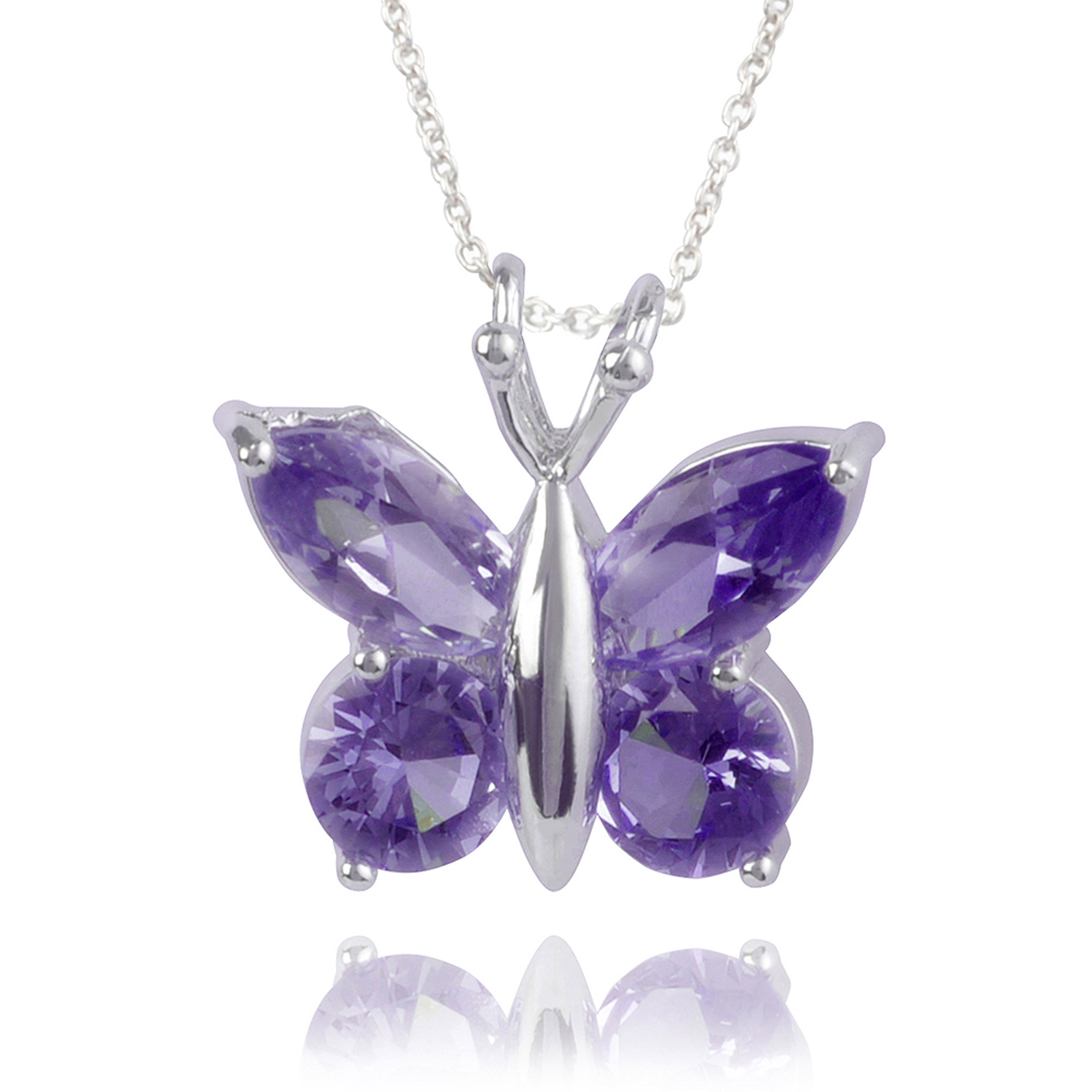 Brinley Co. Women's CZ Sterling Silver Butterfly Pendant Fashion Necklace, Purple, 18""