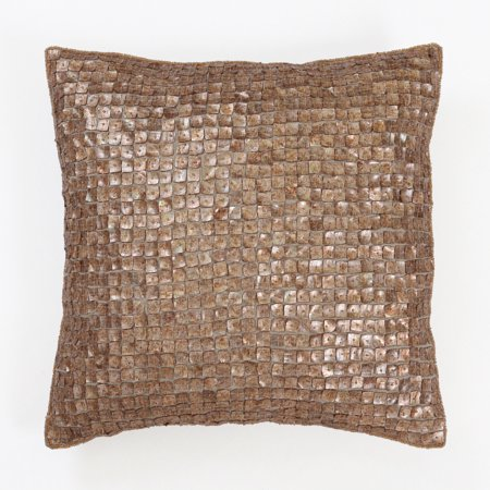Quality Home Mother of Pearl Band Faux Silk Decorative Pillow Cover Only - 18