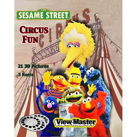 Learning 3d Reels - Sesame Street - CIRCUS FUN - Classic ViewMaster - 3 reel with 21 3D images