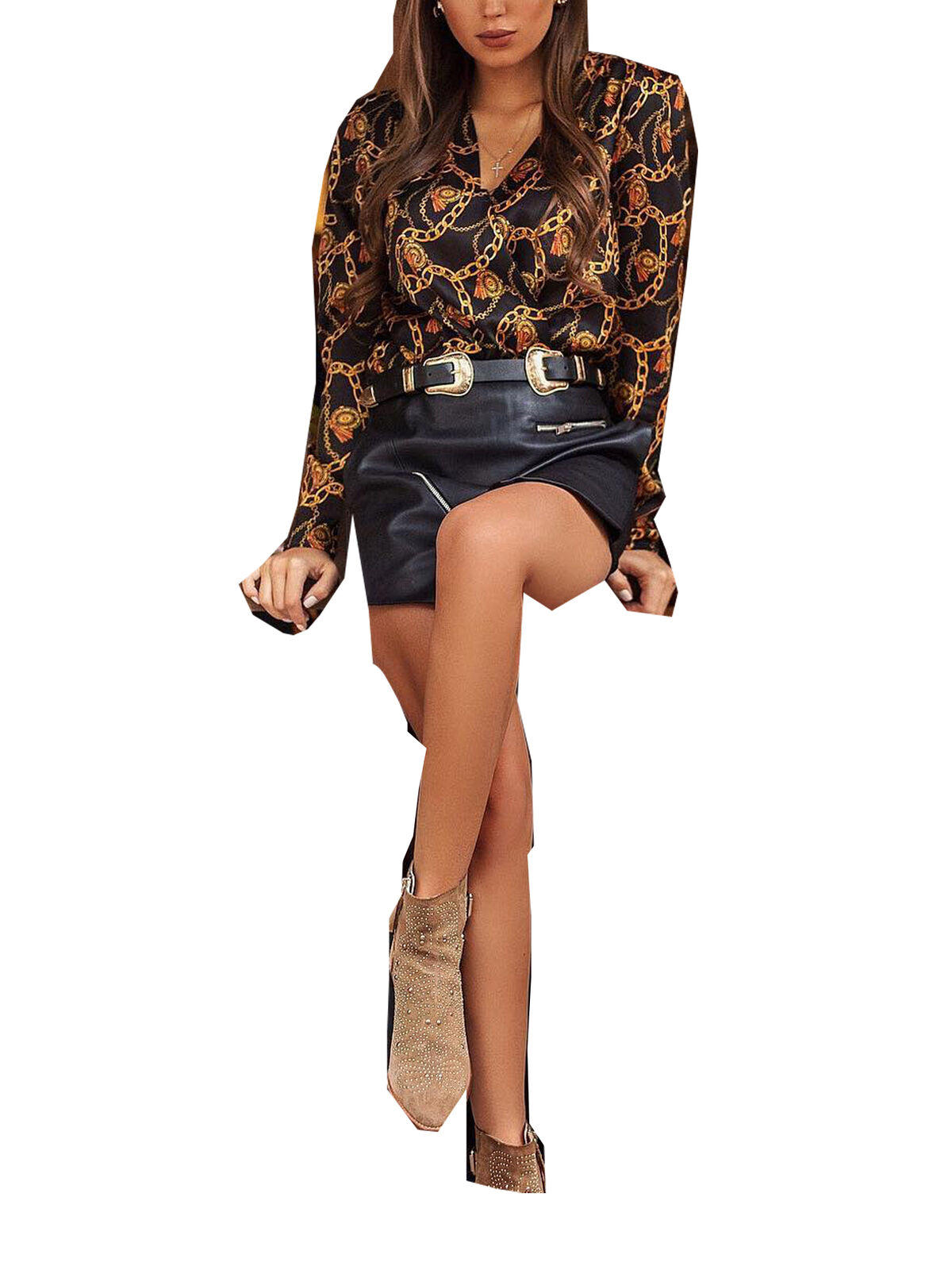 Womens Chain Print Long Sleeve T-Shirt Tops Loose Button Down V Neck Blouse Tee