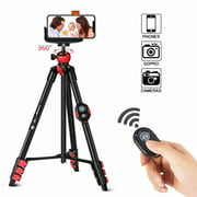 Zomei T60 Portable Tripod with Phone Clip and Bluetooth Remote Control Black Red