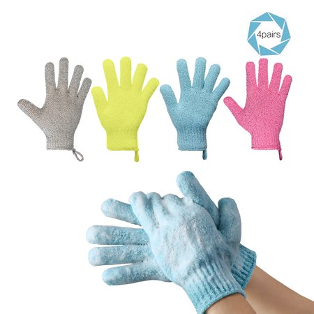 Pretty See High-end Exfoliating Gloves Durable Bathing Gloves for Removing Cutin, 4 Pairs, White, Orange, Blue, (Best Batting Gloves)