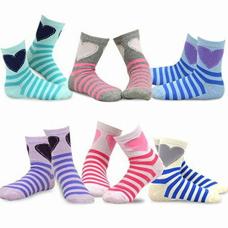 TeeHee Kids Girls Variety Cotton Basic Crew Socks 6 Pack (Little Girls)