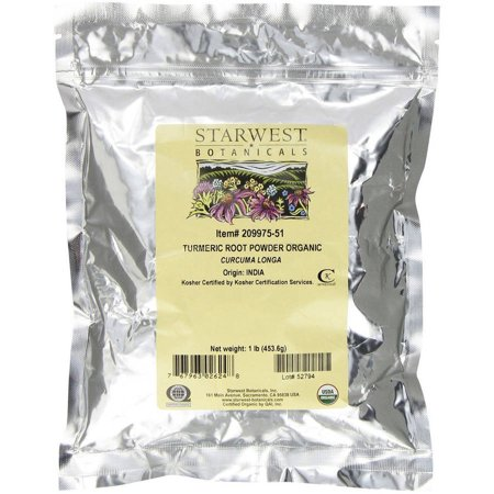 Starwest Botanicals Organic Medicinal And Botanical Herbs Turmeric Root Powder, 1 LB