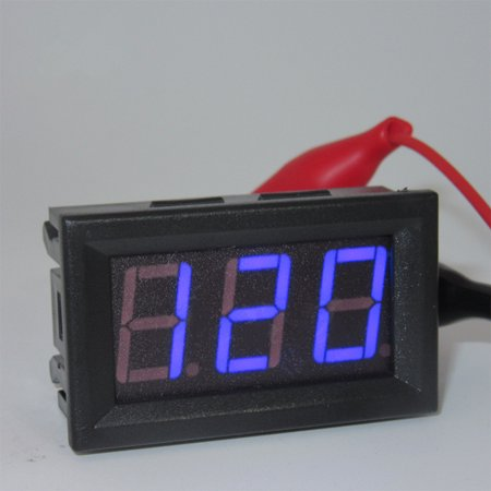 AC 220V 2-wire Voltage Meter Head LED Digital Voltmeter with Reverse Polarity Protection blue