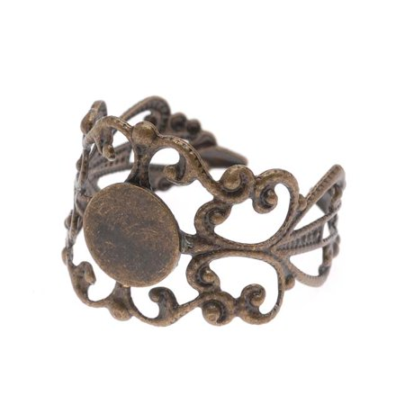 Antiqued Bronze Color 19x16mm Ornate Scroll Adjustable Ring (1)
